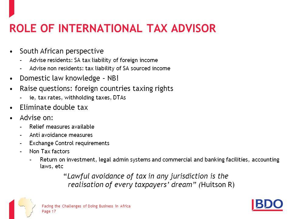 ROLE OF INTERNATIONAL TAX ADVISOR