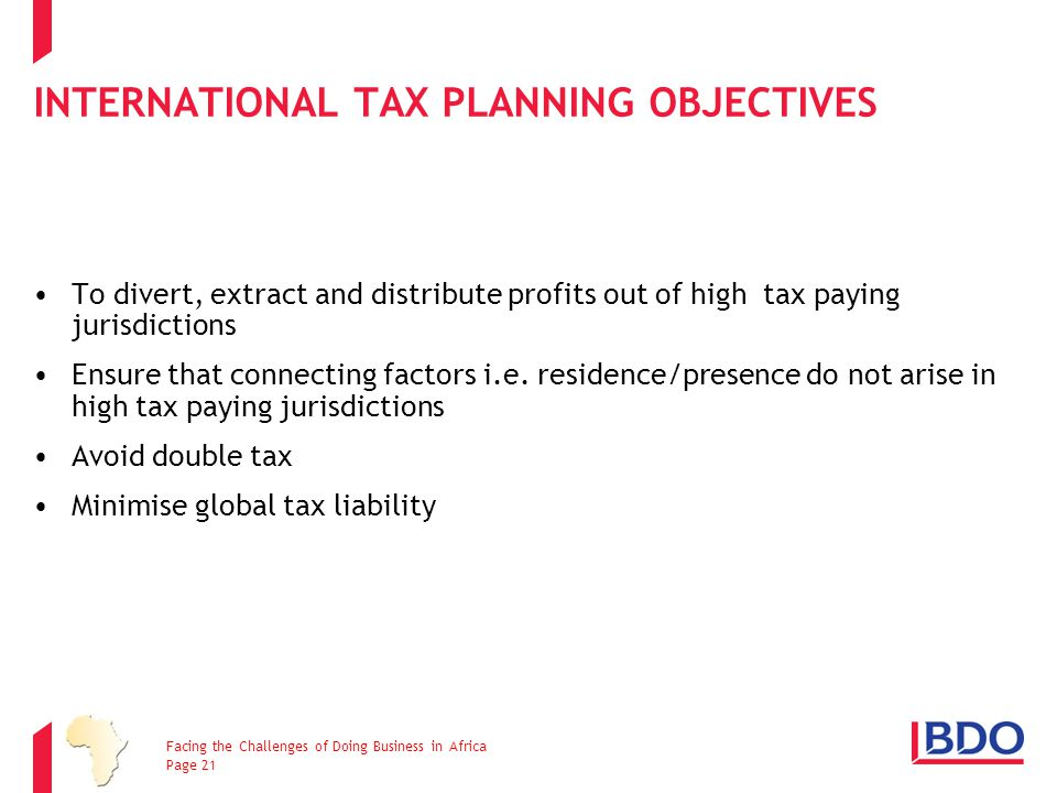 International Tax Planning Objectives
