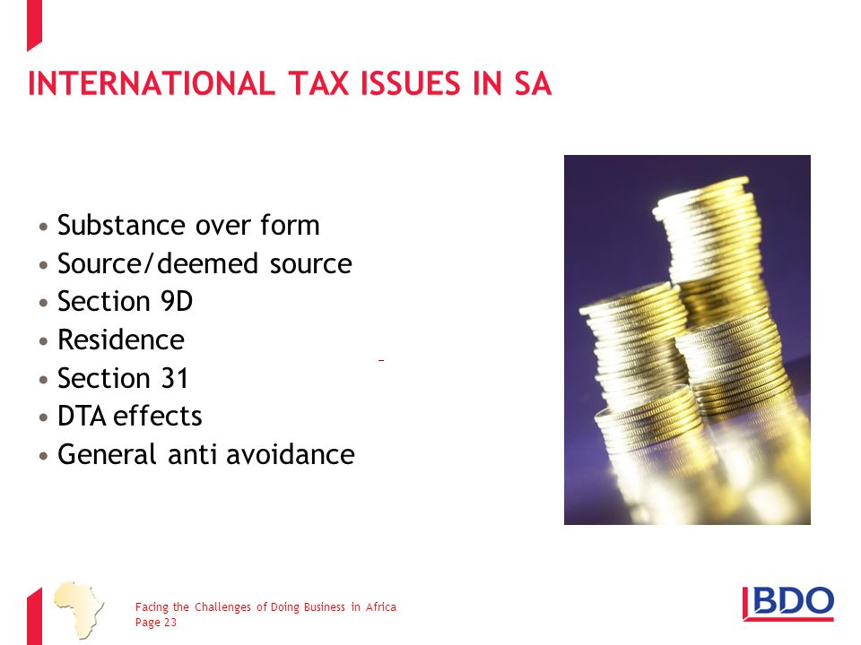 International Tax issues in SA