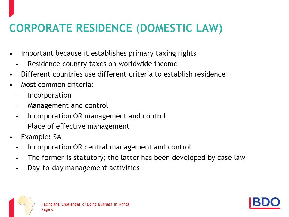 CORPORATE RESIDENCE (DOMESTIC LAW)