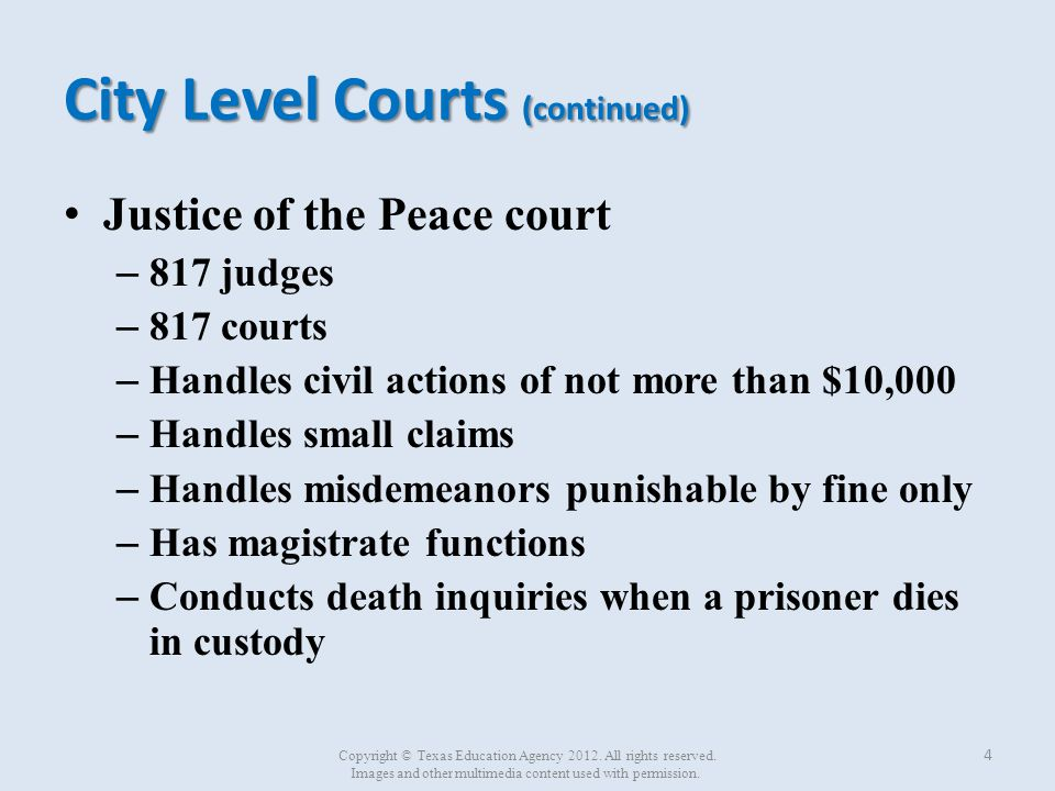 City Level Courts (continued)