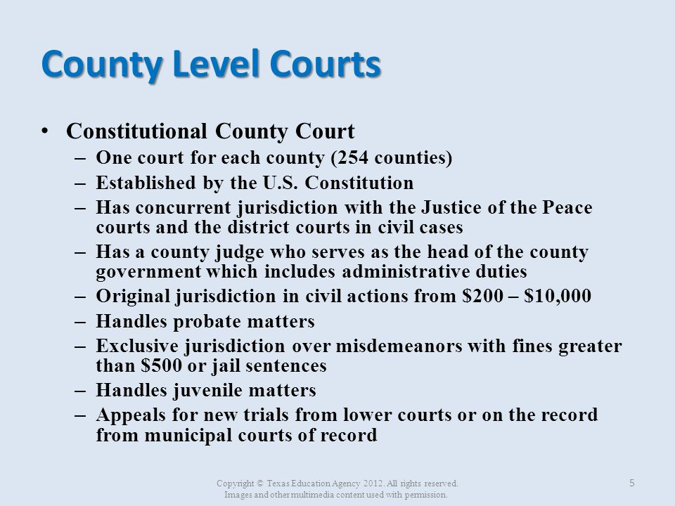 County Level Courts Constitutional County Court