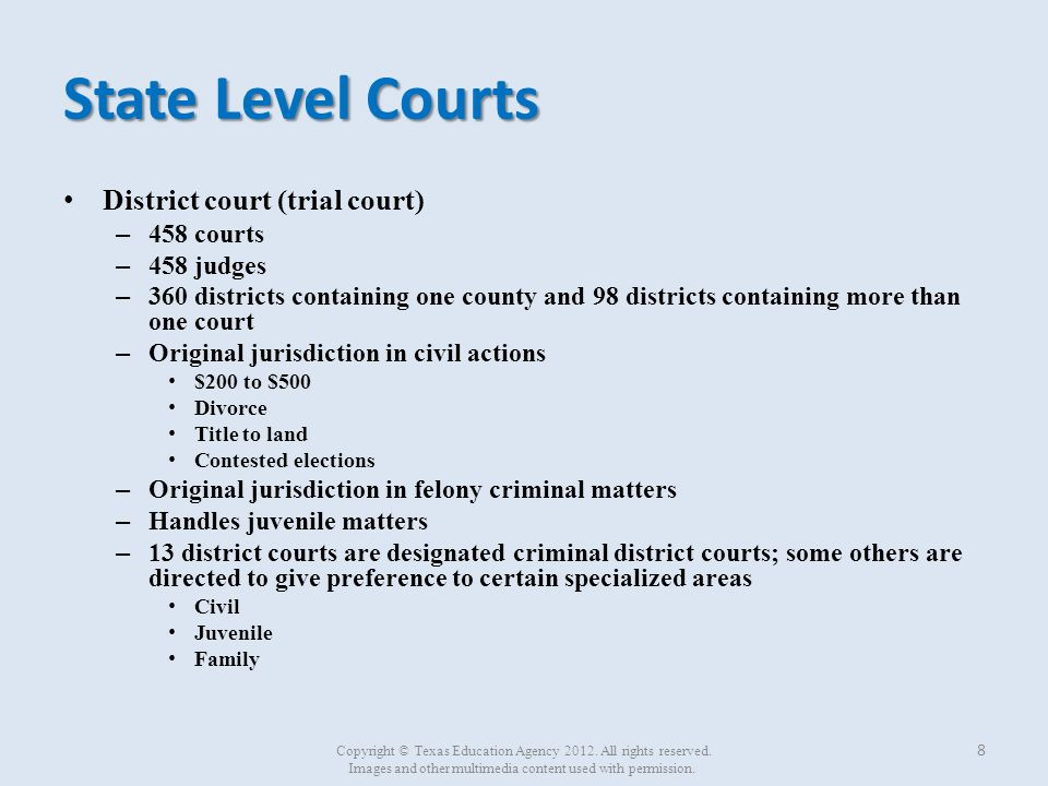 State Level Courts District court (trial court) 458 courts 458 judges