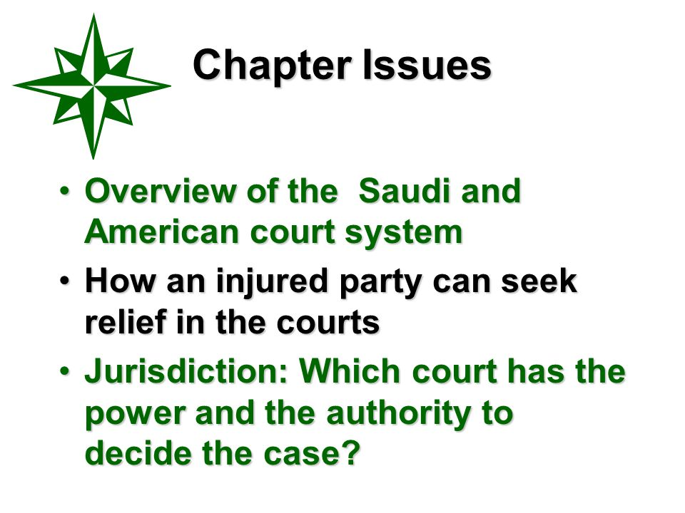 Chapter Issues Overview of the Saudi and American court system