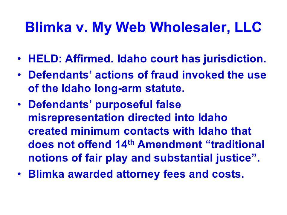 Blimka v. My Web Wholesaler, LLC