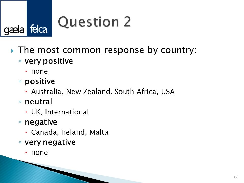 Question 2 The most common response by country: very positive positive