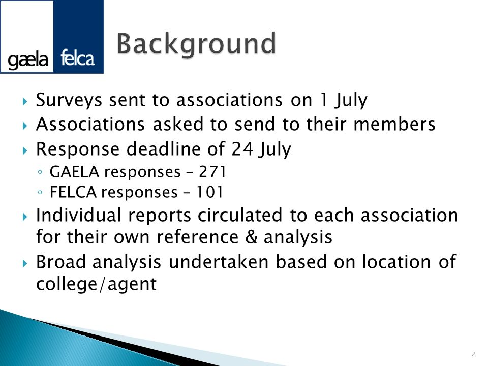 Background Surveys sent to associations on 1 July
