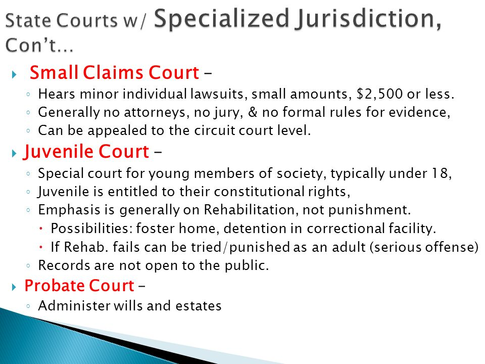 State Courts w/ Specialized Jurisdiction, Con't…