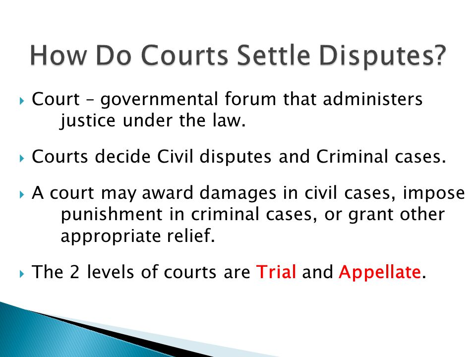 How Do Courts Settle Disputes