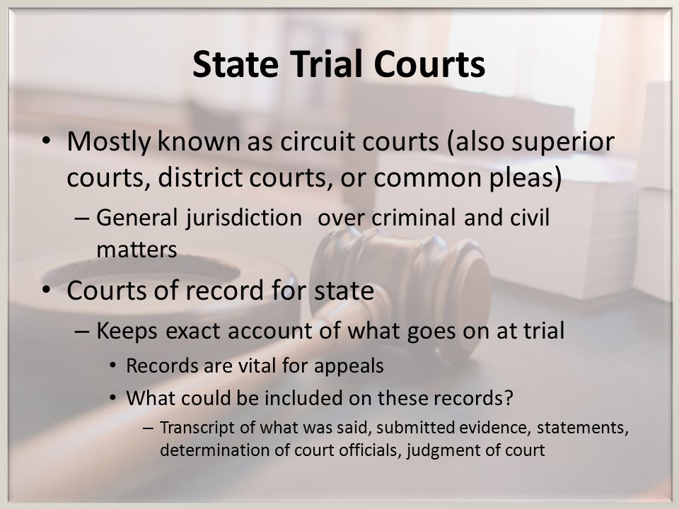 State Trial Courts Mostly known as circuit courts (also superior courts, district courts, or common pleas)