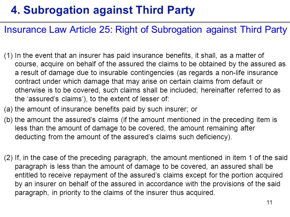 4. Subrogation against Third Party