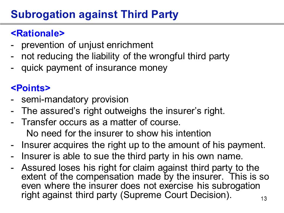 Subrogation against Third Party