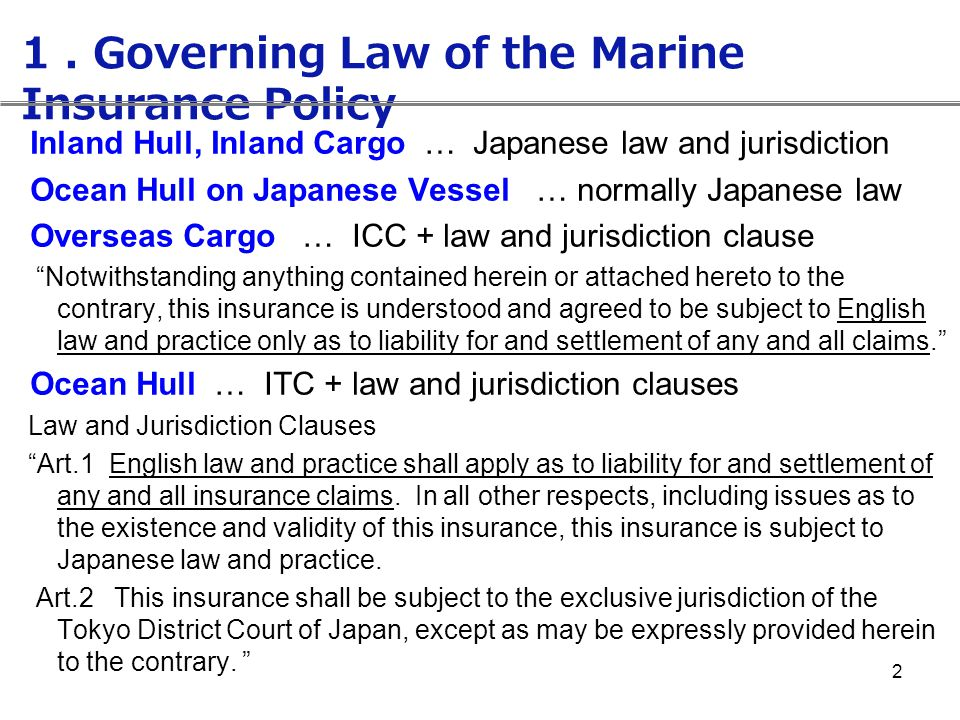 1 . Governing Law of the Marine Insurance Policy