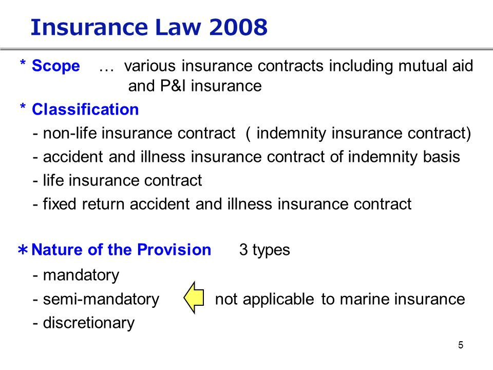 Insurance Law 2008 *Scope … various insurance contracts including mutual aid. and P&I insurance.