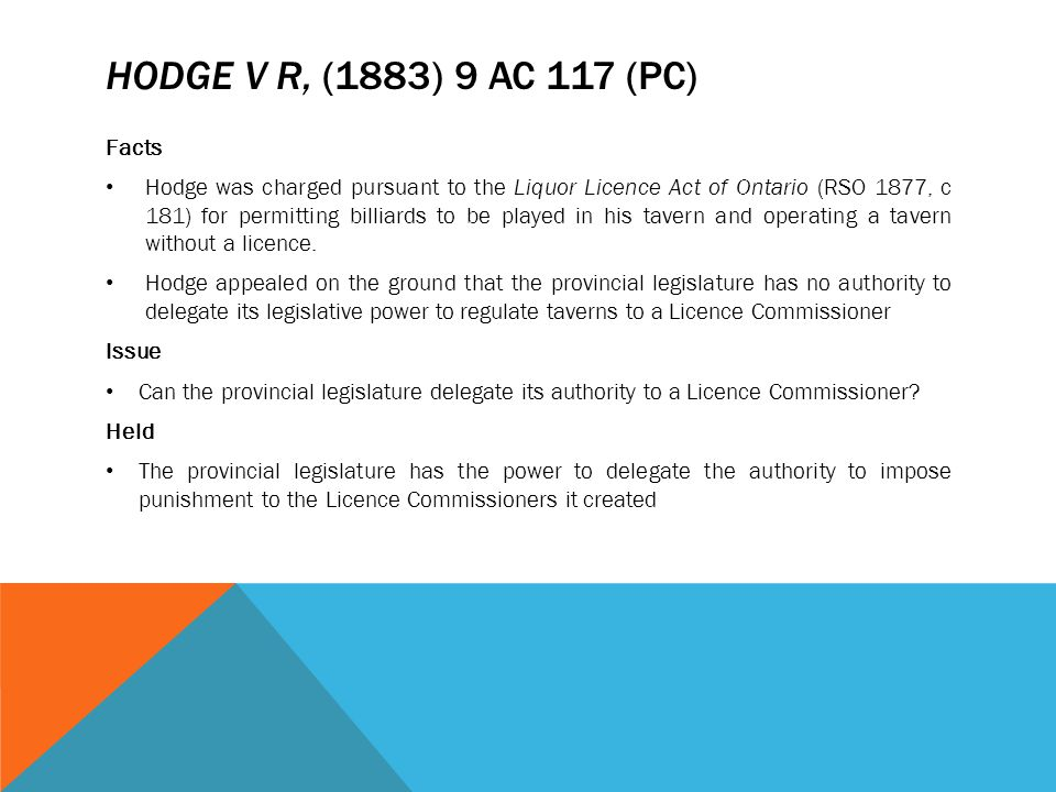 Hodge v R, (1883) 9 AC 117 (PC) Facts