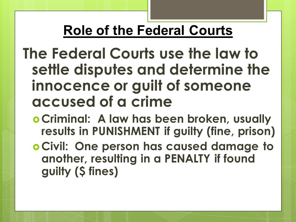 Role of the Federal Courts