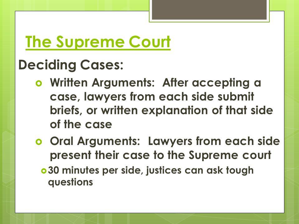 The Supreme Court Deciding Cases: