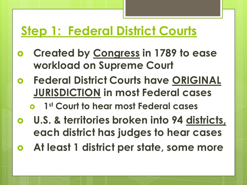 Step 1: Federal District Courts