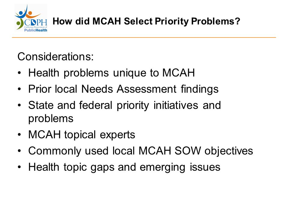 How did MCAH Select Priority Problems