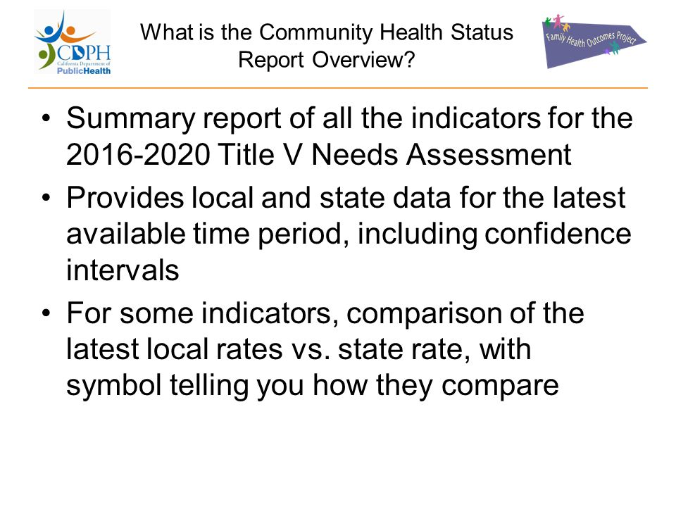What is the Community Health Status Report Overview