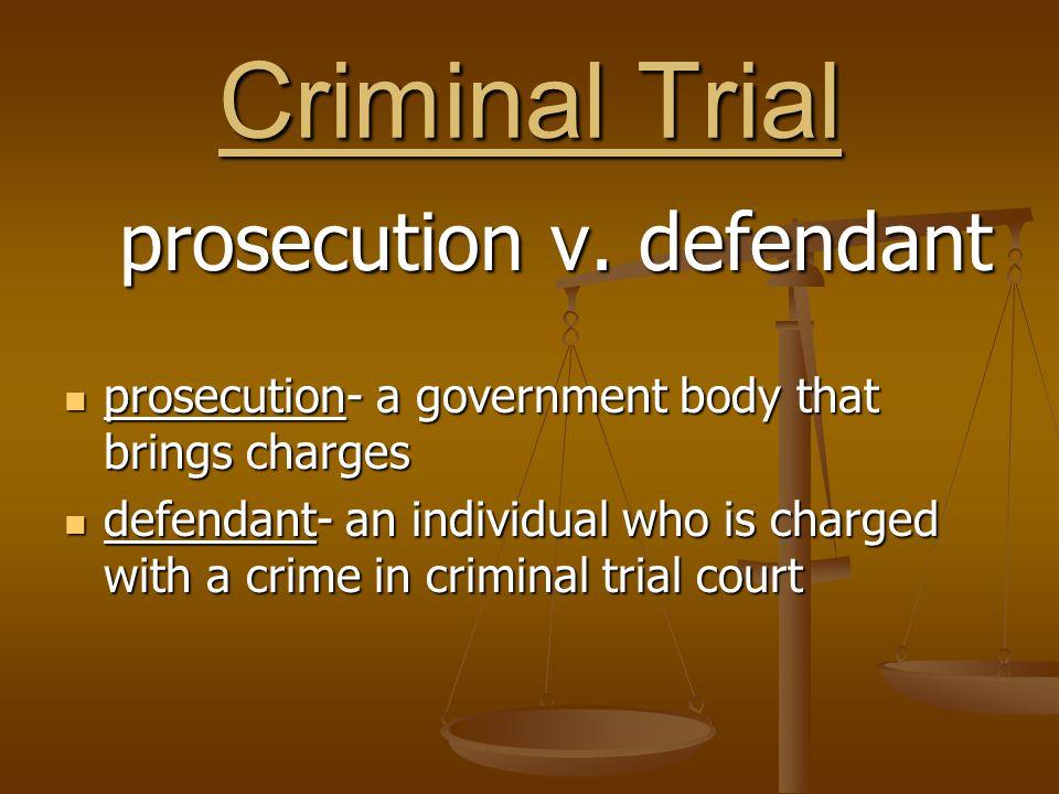 prosecution v. defendant