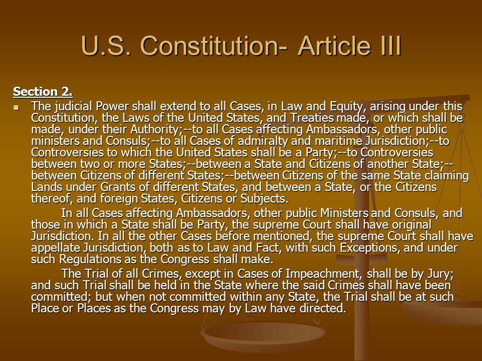 U.S. Constitution- Article III