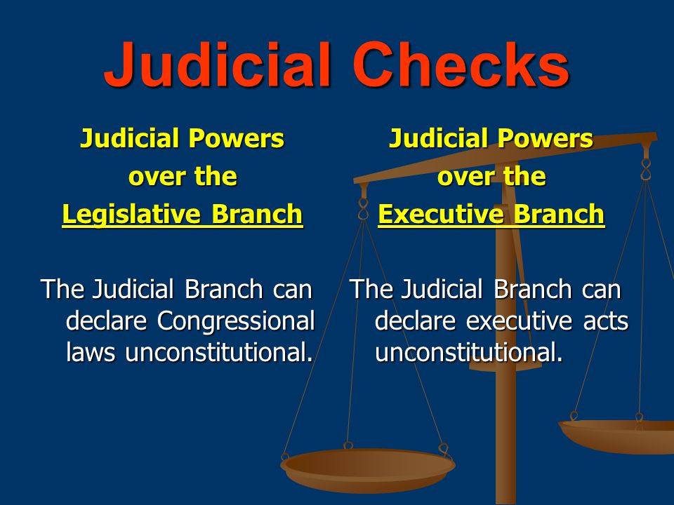 Judicial Checks Judicial Powers over the Legislative Branch