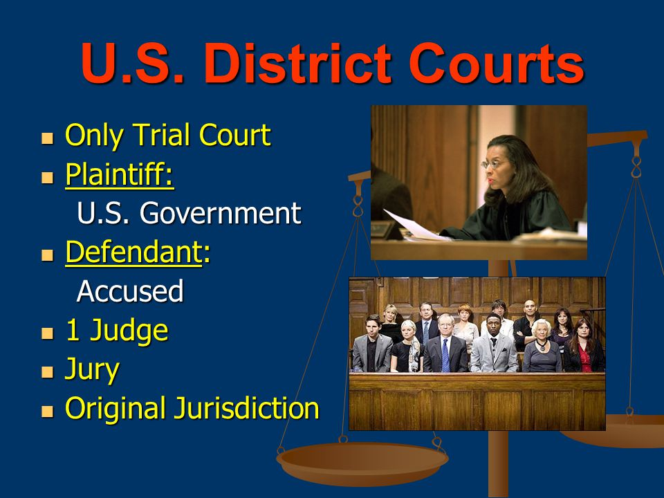 U.S. District Courts Only Trial Court Plaintiff: U.S. Government