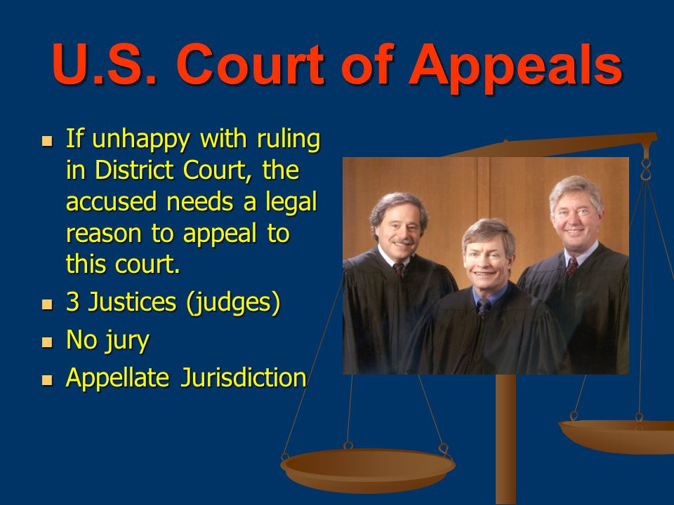 U.S. Court of Appeals If unhappy with ruling in District Court, the accused needs a legal reason to appeal to this court.