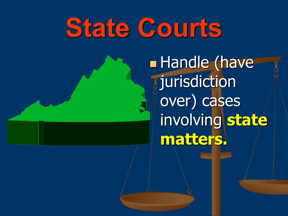 State Courts Handle (have jurisdiction over) cases involving state matters.
