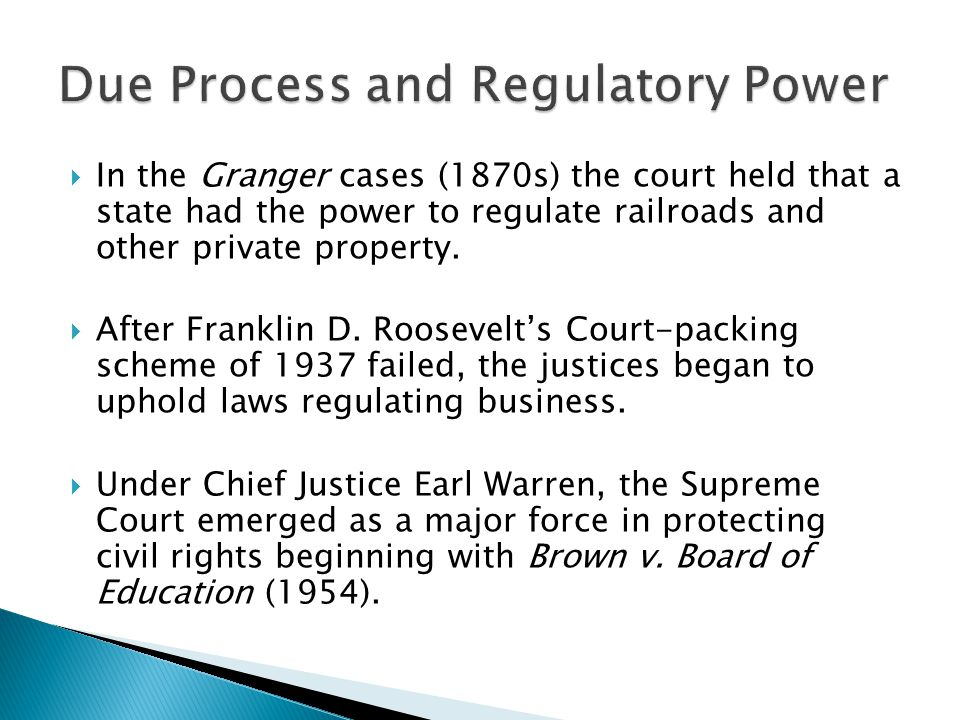 Due Process and Regulatory Power