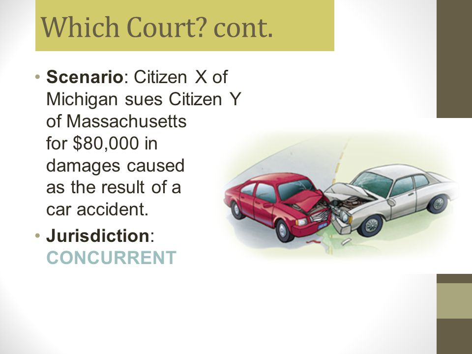 Which Court cont. Scenario: Citizen X of Michigan sues Citizen Y of Massachusetts for $80,000 in damages caused as the result of a car accident.