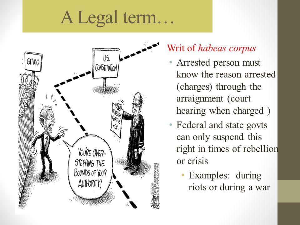 A Legal term… Writ of habeas corpus