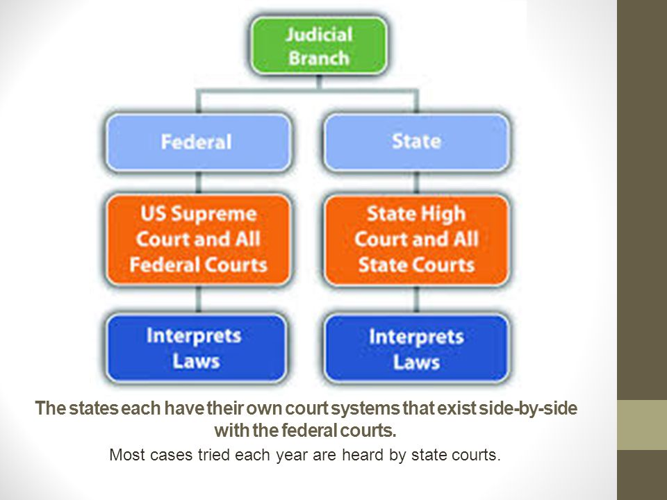 Most cases tried each year are heard by state courts.
