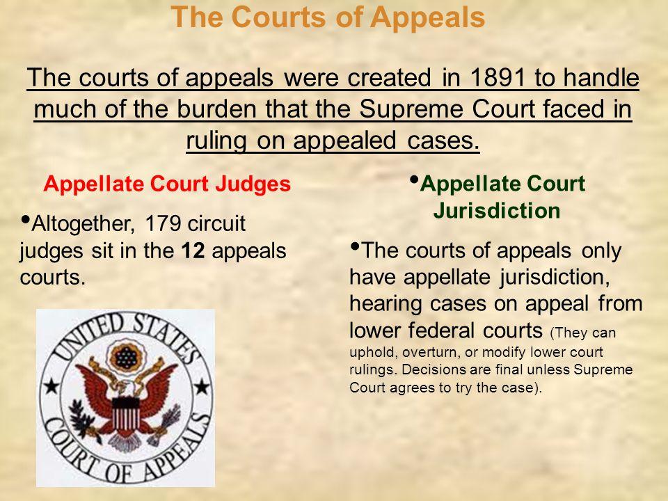 Appellate Court Judges Appellate Court Jurisdiction