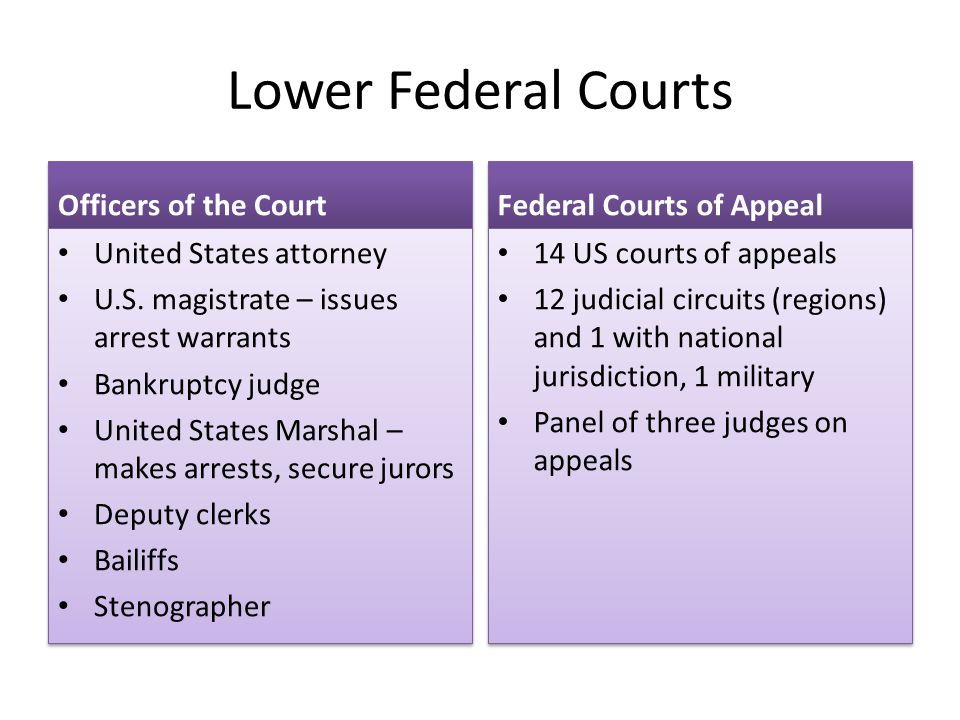 Lower Federal Courts Officers of the Court Federal Courts of Appeal