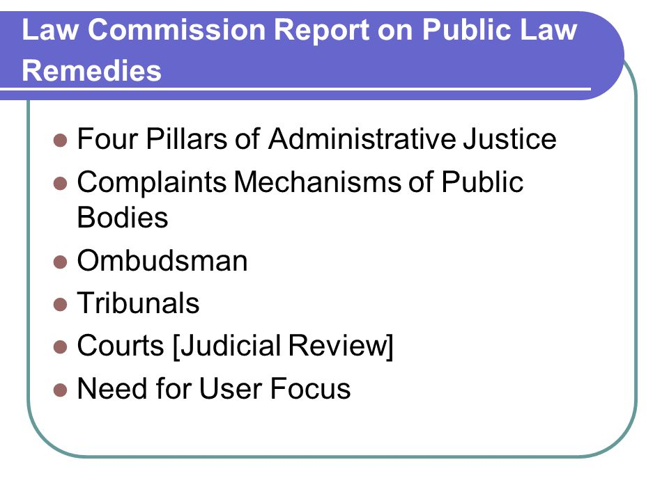 Law Commission Report on Public Law Remedies