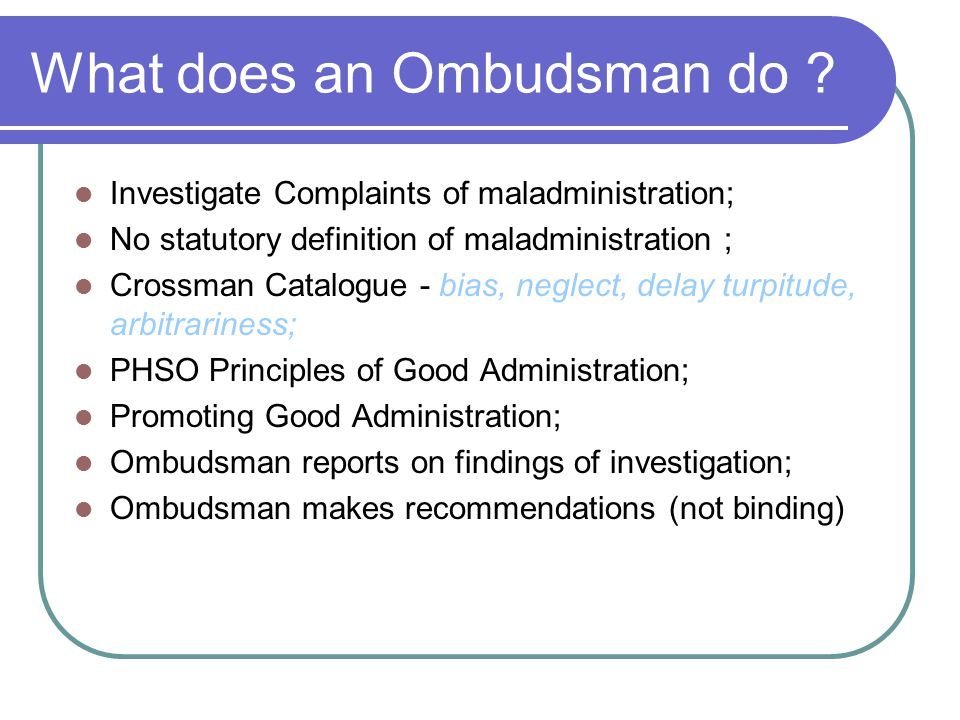 What does an Ombudsman do