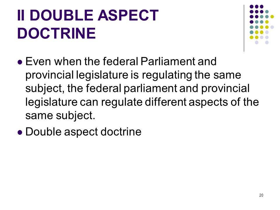 II DOUBLE ASPECT DOCTRINE