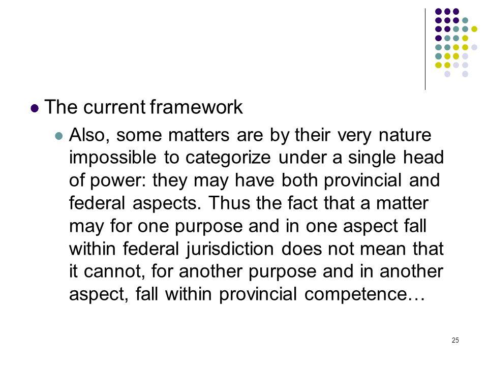 The current framework
