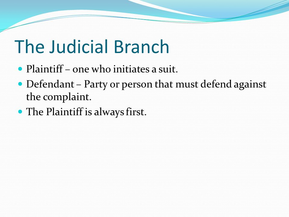 The Judicial Branch Plaintiff – one who initiates a suit.