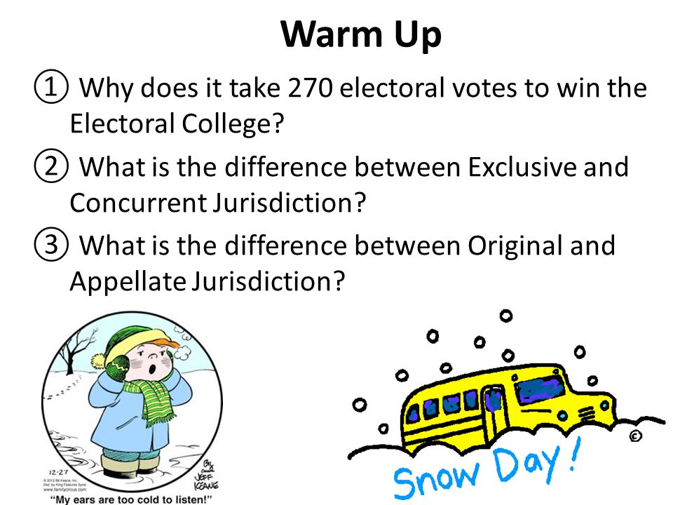 Warm Up Why does it take 270 electoral votes to win the Electoral College What is the difference between Exclusive and Concurrent Jurisdiction