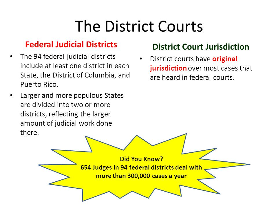Federal Judicial Districts District Court Jurisdiction