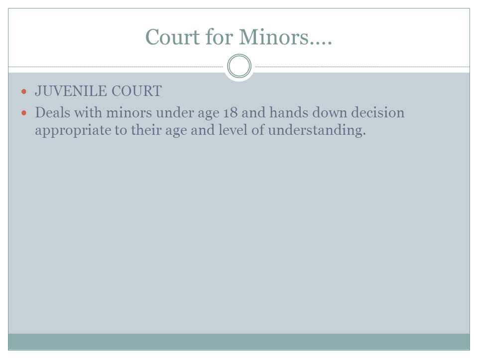 Court for Minors…. JUVENILE COURT