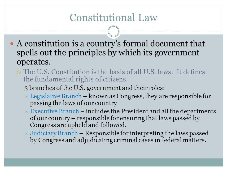 Constitutional Law A constitution is a country's formal document that spells out the principles by which its government operates.