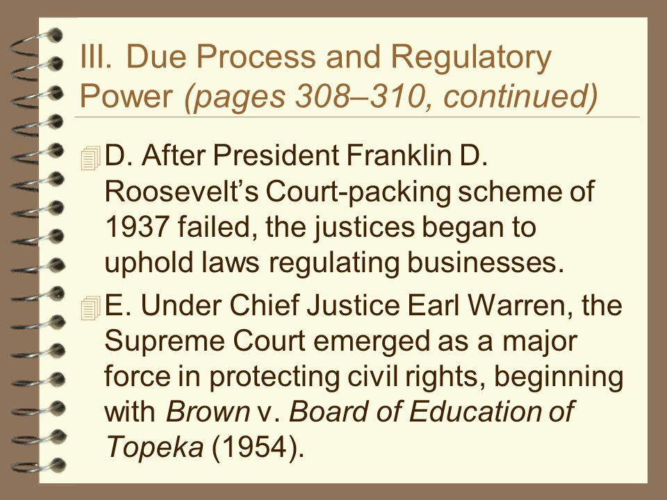III. Due Process and Regulatory Power (pages 308–310, continued)