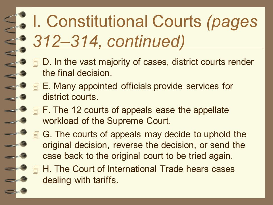 I. Constitutional Courts (pages 312–314, continued)