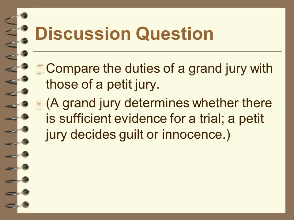 Discussion Question Compare the duties of a grand jury with those of a petit jury.