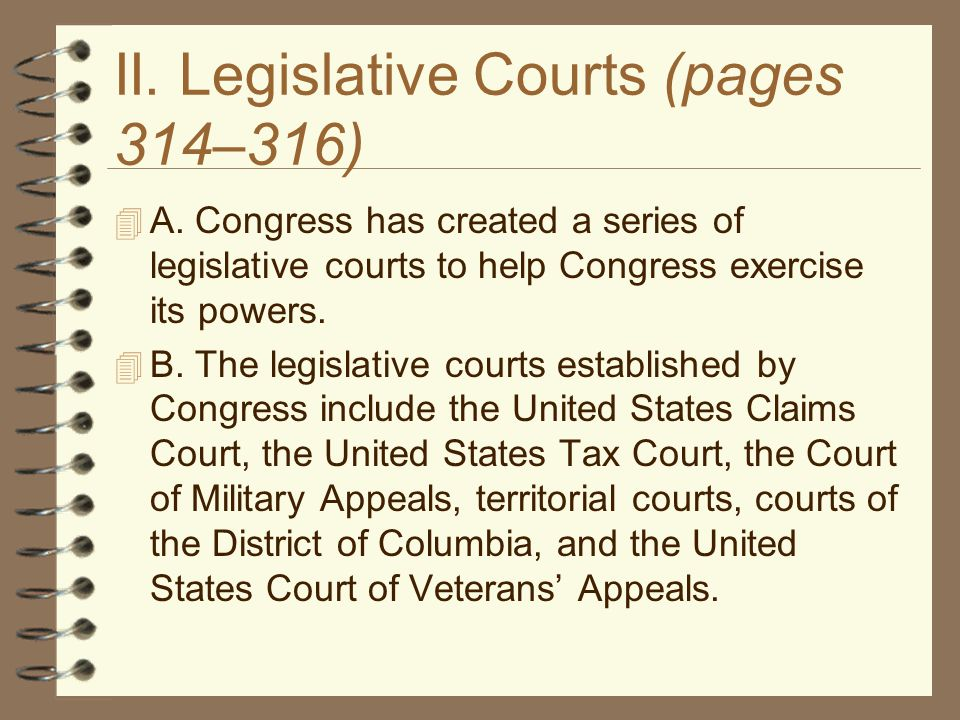 II. Legislative Courts (pages 314–316)