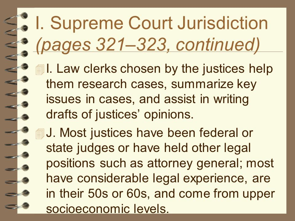 I. Supreme Court Jurisdiction (pages 321–323, continued)